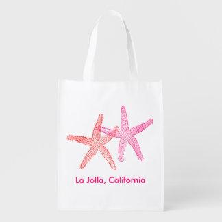 Saco da boa vinda do casamento de praia (rosa & sacola ecológica