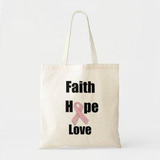 Saco da fita do rosa do amor da esperança da fé bolsa de lona