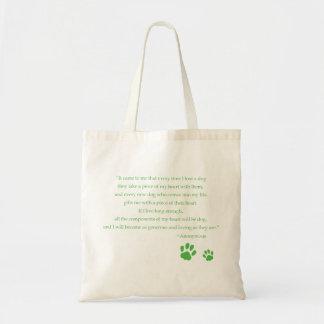 Saco das citações do coração do cão bolsas de lona