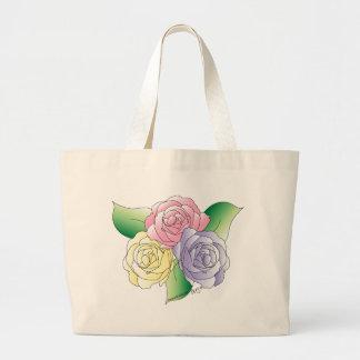 Saco de 3 rosas sacola tote jumbo