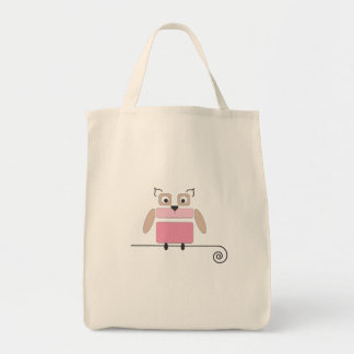 Saco de compras cor-de-rosa da coruja sacola tote de mercado