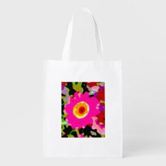 saco de compras florido cor-de-rosa floral sacola ecológica