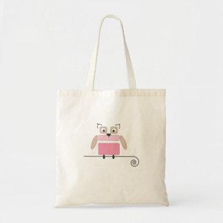 Saco de compras pequeno da coruja cor-de-rosa bolsas de lona