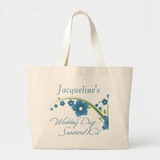 Saco de kit de sobrevivência floral azul do dia do sacola tote jumbo
