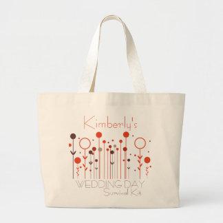 Saco de kit de sobrevivência floral do dia do casa bolsa de lona