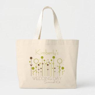Saco de kit de sobrevivência floral verde do dia d bolsas de lona