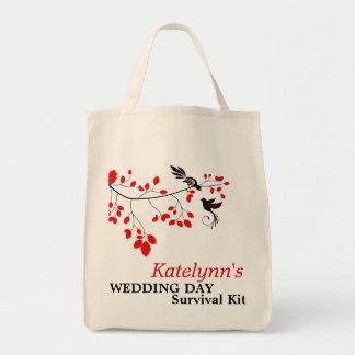 Saco de kit de sobrevivência romance vermelho do sacola tote de mercado