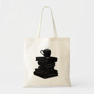Saco de livro com silhueta do café sacola tote budget
