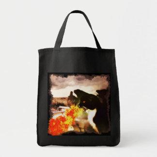 Saco de respiração do gato do dragão do fogo sacola tote de mercado