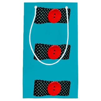 Saco do botão vermelho sacola para presentes pequena