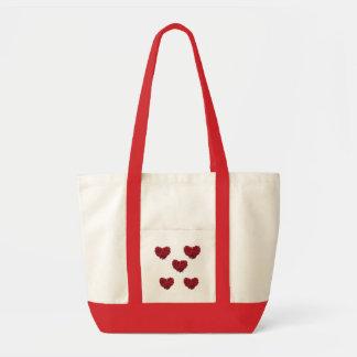 Saco do coração da rosa vermelha bolsas para compras
