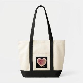 Saco do coração do rosa do rosa sacola tote impulse