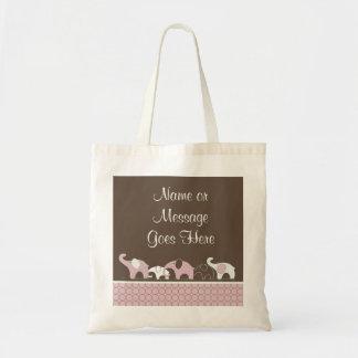 Saco do elefante cor-de-rosa sacola tote budget