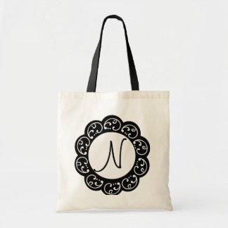 Saco do favor do casamento do monograma bolsas de lona
