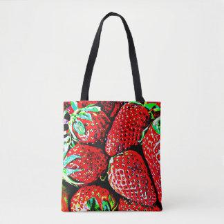 Saco do mercado da morango bolsas tote