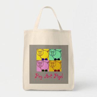 Saco do mercado de fazendeiro de porcos do pop art bolsa tote