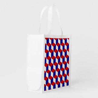 Saco do poliéster - ilusão branca e azul vermelha sacolas ecológicas para supermercado