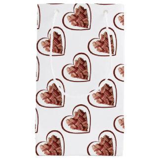 Saco do presente do coração do bacon sacola para presentes pequena