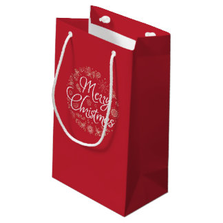 Saco do presente do Natal com elementos do desenho Sacola Para Presentes Pequena