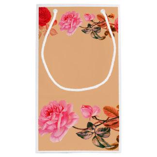 Saco do presente do papel da beira dos rosas do sacola para presentes pequena