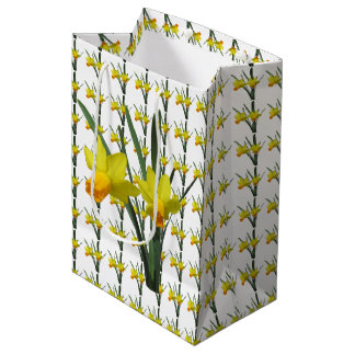 Saco do presente - flores do Daffodil Sacola Para Presentes Média