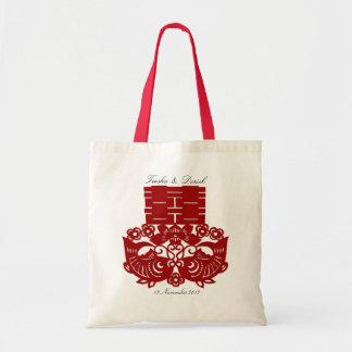 Saco dobro vermelho chinês do casamento da felicid bolsa de lona