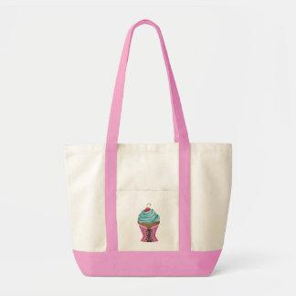 Saco doce do cupcake do rosa do verão com a cereja sacola tote impulse