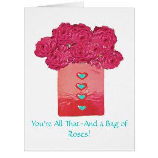 Saco dos Rosa-Namorados Cartão Comemorativo Grande
