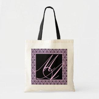 Saco - elegância no monograma cor-de-rosa sacola tote budget