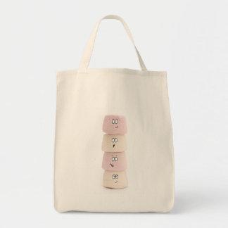 saco engraçado do rosa e o branco do marshmallow bolsa para compra