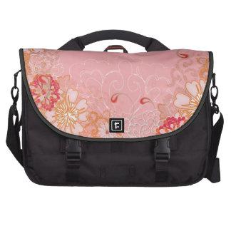 Saco floral cor-de-rosa da viagem ao trabalho do r bolsa para notebook