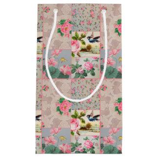 Saco floral do presente da colagem do rosa bonito sacola para presentes pequena