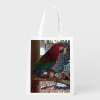 Saco frente e verso dos pássaros exóticos sacolas ecológicas para supermercado