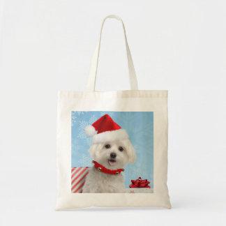 Saco maltês do Natal do filhote de cachorro Bolsa Tote