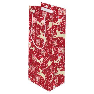 Saco musical vermelho do presente do Natal do Sacola Para Vinho