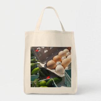 Saco orgânico fresco do mercado dos ovos e das bolsa tote