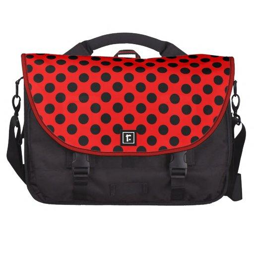 Saco preto vermelho do laptop das bolinhas pastas para laptop
