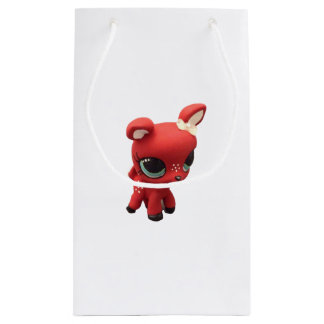 Saco retro do veado vermelho sacola para presentes pequena