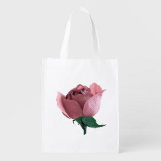 Saco reusável com rosa do rosa sacolas ecológicas