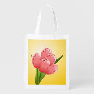 Saco reusável com tulipa cor-de-rosa sacolas ecológicas para supermercado
