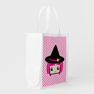 Saco reusável da bruxa de cabelo cor-de-rosa de sacola ecológica para supermercado