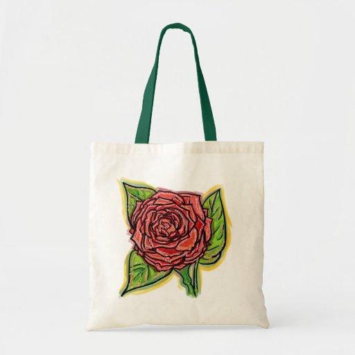 Saco reusável da rosa vermelha bolsa para compra