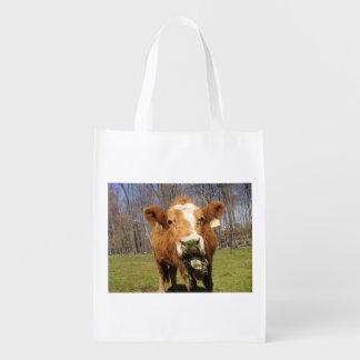Saco reusável da vaca sacolas reusáveis