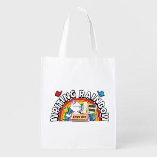 Saco reusável do arco-íris da escrita sacolas ecológicas para supermercado