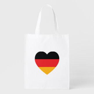 Saco reusável do coração da bandeira de Alemanha Sacola Ecológica Para Supermercado