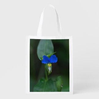 Saco reusável do Wildflower azul asiático do Sacolas Ecológicas Para Supermercado