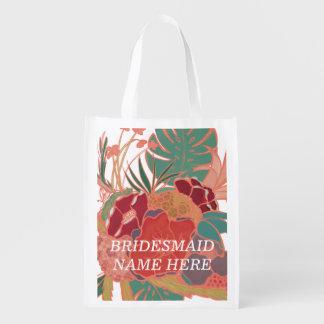 Saco reusável floral personalizado dama de honra sacolas ecológicas