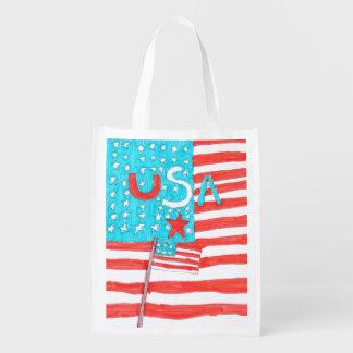 Saco reusável patriótico sacolas ecológicas para supermercado