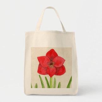 Saco vermelho bonito da flor bolsa tote