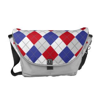 Saco vermelho, branco, azul e cinzento do teste pa bolsa mensageiro